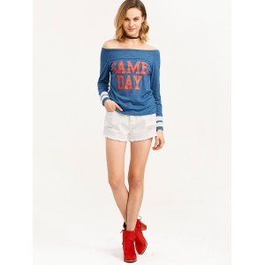 Game Day Print Off The Shoulder T-Shirt -