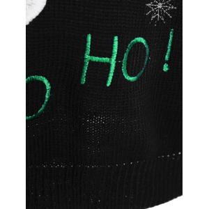 Pullover Santa Applique Crew Neck Sweater - BLACK ONE SIZE