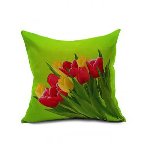 Tulip Printed Linen Sofa Backrest Pillow Cover
