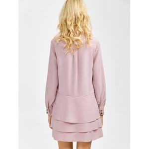 Bow Tie Collar Buttoned Tiered Dress -