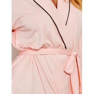 Belted Long Sleeves Wrap Sleepwear - SHALLOW PINK L