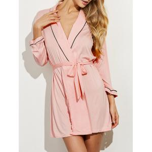 Belted Long Sleeves Wrap Sleepwear - Shallow Pink - M
