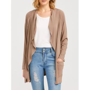 Raglan Sleeve Pocket Draped Coat