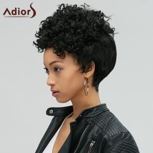 Adiors Short Pixie Cut Fluffy Curly Side Bang Synthetic Wig -