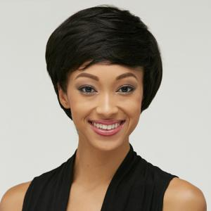 Shaggy Oblique Bang Straight Short Synthetic Wig -