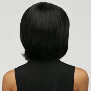 Short Fluffy Straight Oblique Bang Synthetic Wig -