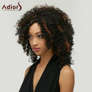 Highlight Medium Afro Curly Side Bang Synthetic Wig -