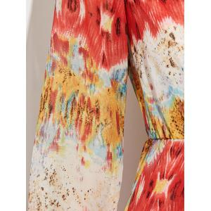 Chiffon Plunge Neck Print Maxi Flowy Romper - RED S