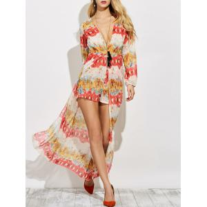 Chiffon Plunge Neck Print Maxi Flowy Romper - Red - S