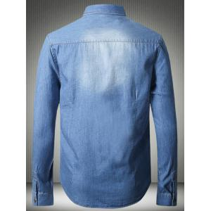 Suture Pockets Bleach Wash Denim Shirt -