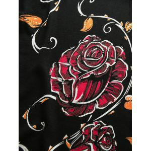 Rose Pattern Crew Neck Thicken Long Sleeve Sweater -