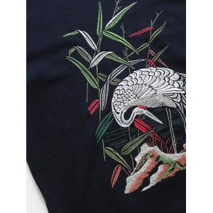 Crane Embroidered Crew Neck Thicken Sweater -
