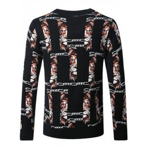3D Chain and Lion Pattern Crew Neck Sweater -