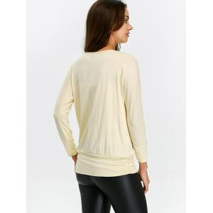 Ruched Long Sleeve T Shirt - BEIGE 2XL