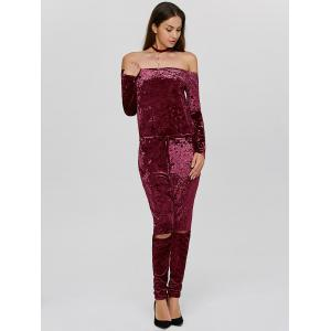 Ripped Off The Shoulder Velvet Long Sleeve Jumpsuit - WINE RED XL