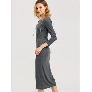 Tea Length Fitted Sheath Dress - DEEP GRAY 2XL