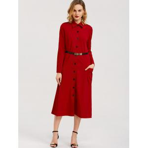 Belted Midi Shirt Dress With Pocket -