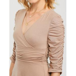 Knee Length Ruched Surplice Dress -