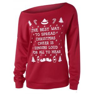 Casual Skew Neck Merry Christmas Sweatshirt