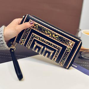 Color Block Printed PU Leather Wallet -