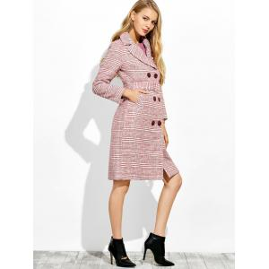 Button Down Checked Coat with Belt -