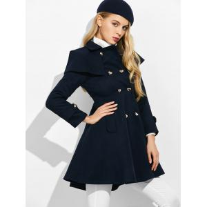 Double Breasted Ruffle Skirted A Line Coat - PURPLISH BLUE XL
