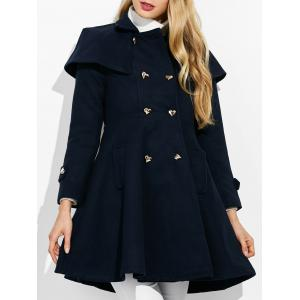 Double Breasted Ruffle Skirted A Line Coat - Purplish Blue - S