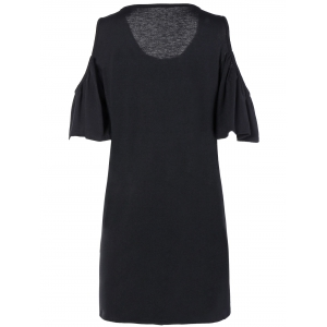 Loose Open Shoulder Flounce Sleeve Mini Dress With Sleeves - BLACK L