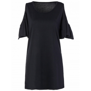 Loose Open Shoulder Flounce Sleeve Mini Dress With Sleeves