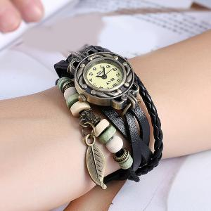 Artificial Leather Braid Leaf Bracelet Watch - BLACK