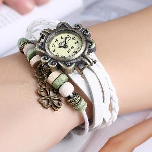Artificial Leather Braid Clover Bracelet Watch - WHITE
