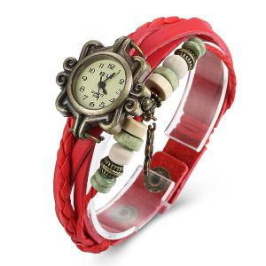 Artificial Leather Braid Clover Bracelet Watch - RED