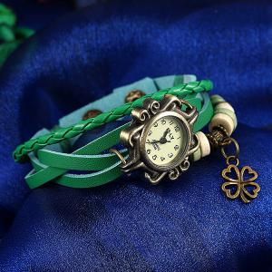 Artificial Leather Braid Clover Bracelet Watch - GREEN