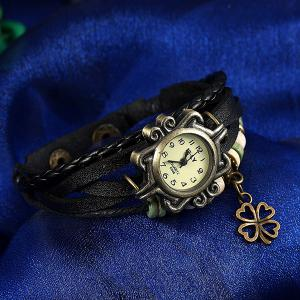 Artificial Leather Braid Clover Bracelet Watch -