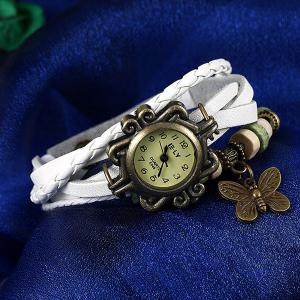 Artificial Leather Braid Butterfly Bracelet Watch - WHITE