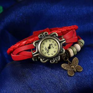Artificial Leather Braid Butterfly Bracelet Watch - RED