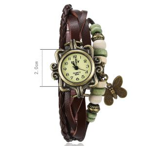 Artificial Leather Braid Butterfly Bracelet Watch - BROWN