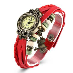 Artificial Leather Braid Owl Bracelet Watch - RED