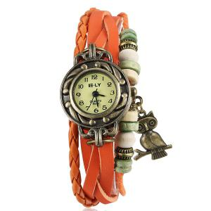 Artificial Leather Braid Owl Bracelet Watch