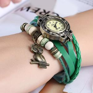Artificial Leather Braid Owl Bracelet Watch - GREEN