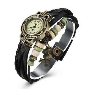 Artificial Leather Braid Owl Bracelet Watch - BLACK