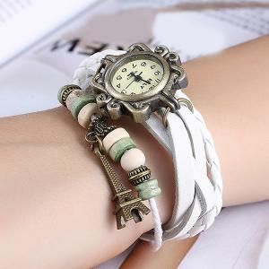 Artificial Leather Braid Eiffel Tower Bracelet Watch - WHITE