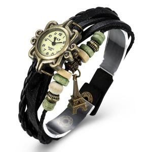 Artificial Leather Braid Eiffel Tower Bracelet Watch -