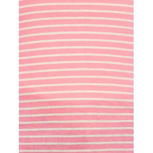 V Neck Striped Elbow Patched Pocket T-Shirt - PINK L