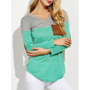 V Neck Striped Elbow Patched Pocket T-Shirt - Green - S