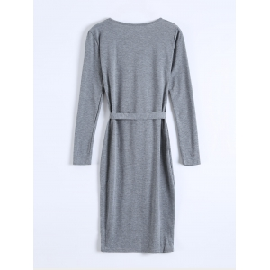 Long Sleeve Single-Breasted Belted Bodycon Dress -