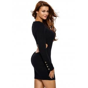 Long Sleeve Cut Out Casual Jersey Bodycon Dress - BLACK S