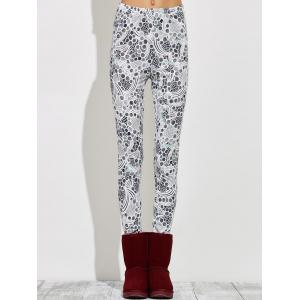 High Waisted Skinny Print Leggings - GRAY XL
