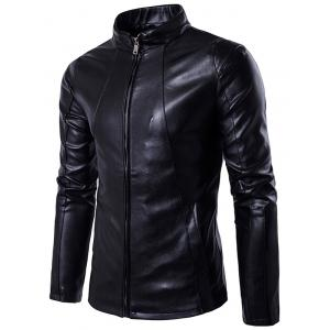 Stand Collar Zipper Design PU Leather Jacket
