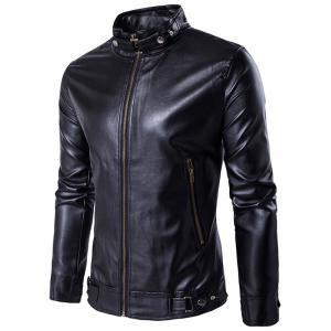 Zip Up Metal Buckle Design PU Leather Jacket - Black - M